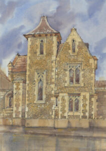 Clifford-H-Thompson-1926-2017-20th-Century-Watercolour-Gothic-House