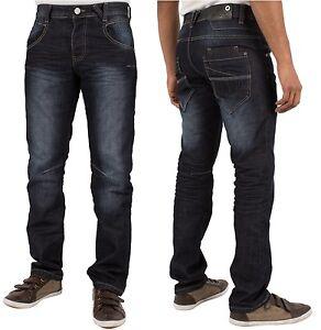 Brand-New-Mens-ENZO-Dark-Wash-Designer-Straight-Leg-Jeans-Pants-All-Sizes-28-48
