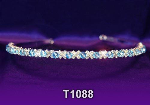 Haarschmuck Hochzeit Brautjungfer Blau kristall Stirnband Diadem Tiara T1088