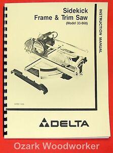 delta 33 060 sidekick frame trim saw instructions parts manual rh ebay com Owner's Manual Operators Manual
