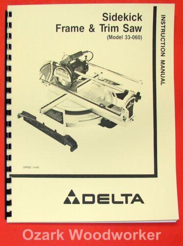 DELTA 33-060 Sidekick Frame /& Trim Saw Instructions /& Parts Manual 0928