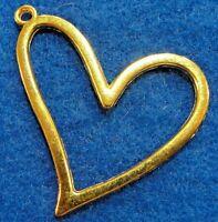 10pcs. Large Tibetan Gold Open Heart Charms Pendants Earring Drops H108