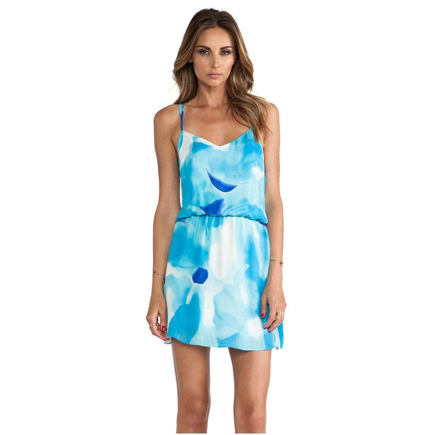 Parker Woherren Poolside Blau Jameson Silk Dress Größe L Large NWT RTL