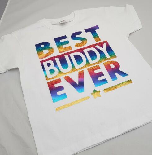 BEST BUDDY EVER Tshirt 1-13yrs and S XXL Adult Rainbow Friends bestie WHITE