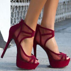 Womens-Suede-High-Heels-Stiletto-Hollow-Mesh-Peep-Toe-Platform-Shoes-Nightclub