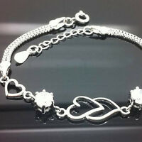 Women Fashion Bracelet Rhinestone Love Heart Bangle Hand Chain Jewelry Gift CL