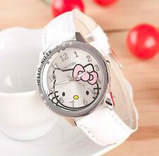 Kids Girls Hello Kitty White Wrist Watch Analog Leather Strap Steel Back B