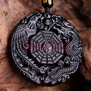 Natural-Black-Obsidian-Hand-Carved-Dragon-Phoenix-Amulet-Pendant-Necklace