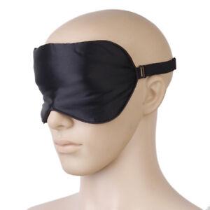 6205756df Black Pure Silk Eye Mask Sleep Patch with Adjustable Elastic Head ...