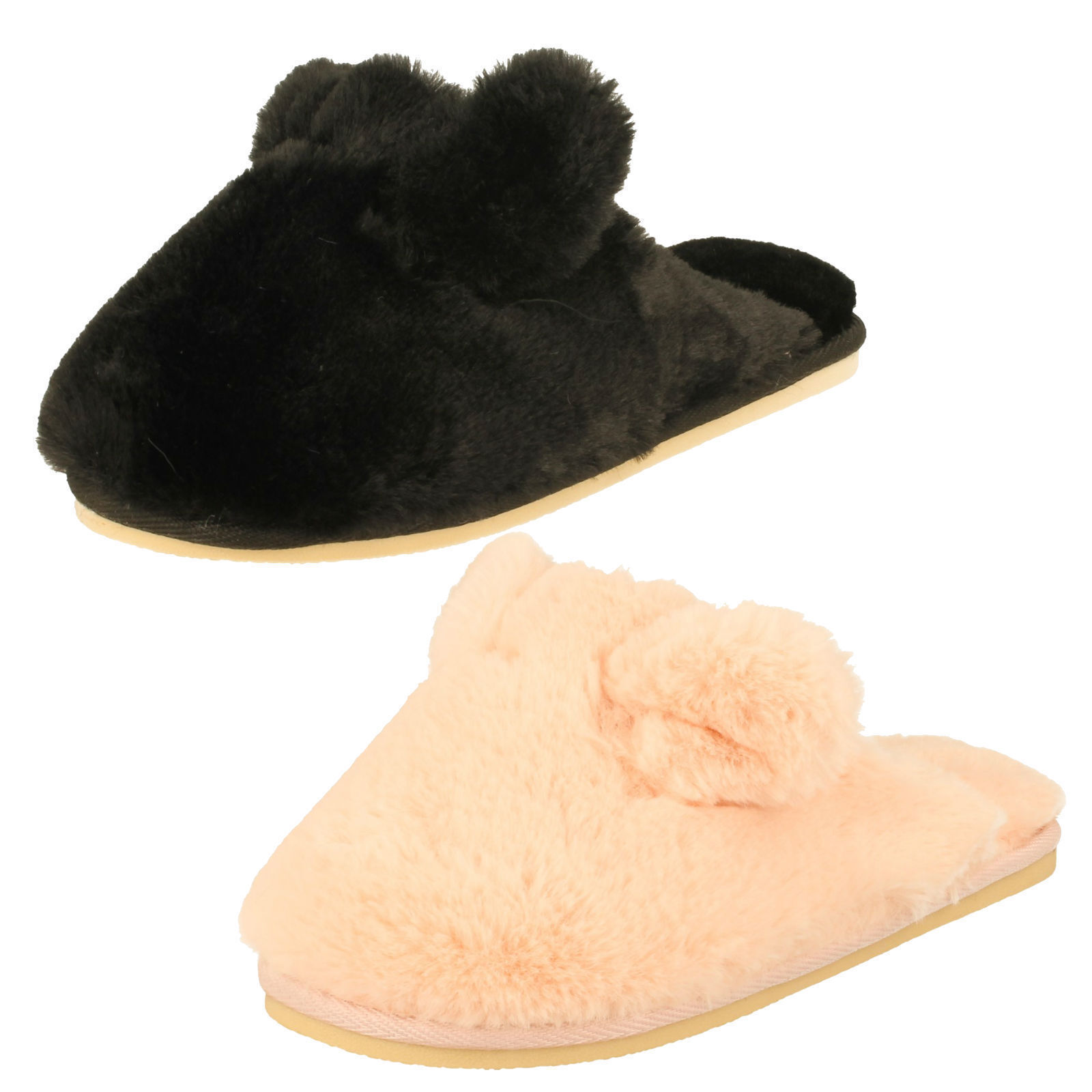 Ladies four seasons mule pink novelty ears fluffy mule seasons winter slip on slipper patrcia 3bed15