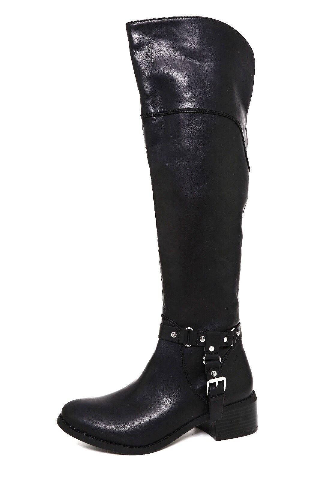 Dolce Vita Over Knee Side Zip Leather Boot Black Women Sz 7.5 5769 *