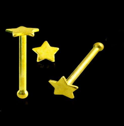 Nose Stud Bone 9K Carat Genuine Gold Plain Flat Star Body Piercing Pin 22g 6mm