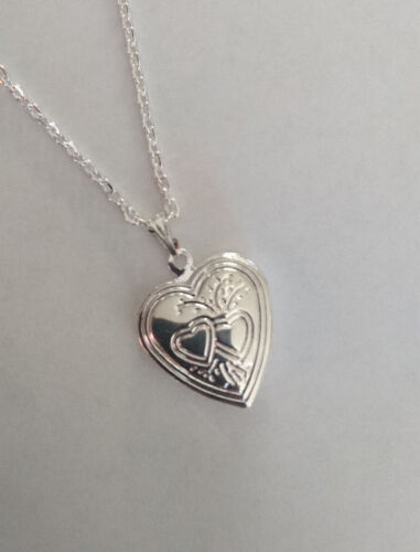 "Heart Locket necklace chain 20mm pendant 16/"" chain gift girls womens keepsake"