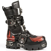 Rock M.195-s1 Black Flame Red Leather Metel Buckle Strapped Boots