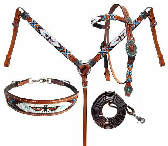 Showman Bridle Breast Collar Wither Strap /& Rein Set w// Beaded Navajo Inlay!!!