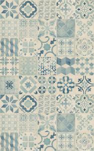 Details Sur Tapis En Vinyle Carreaux De Ciment Bleu Cuisine Sejour Salle De Bain