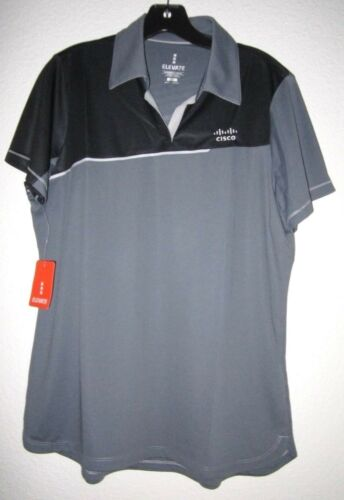 CISCO SYSTEM ELEVATE Gray Jersey Activewear Women Prater S//S Polo Top Shirt NWT