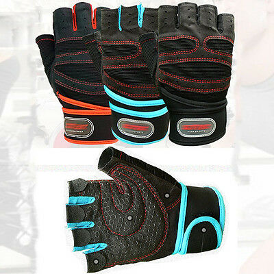 Weight lifting Gym Exercise Gloves Training Fitness Workout Wrist Wrap LD335