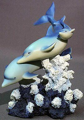 New Dolphin Family Figurine 3 Blue Dolphins On Coral