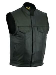 SOA-Men-Sons-of-Anarchy-Motorcycle-Biker-Club-Leather-Vest-Concealed-Carry-Arms