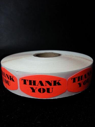 THANK YOU MERCHANDISE LABELS 1000 PER ROLL FL RED BLACK STICKER