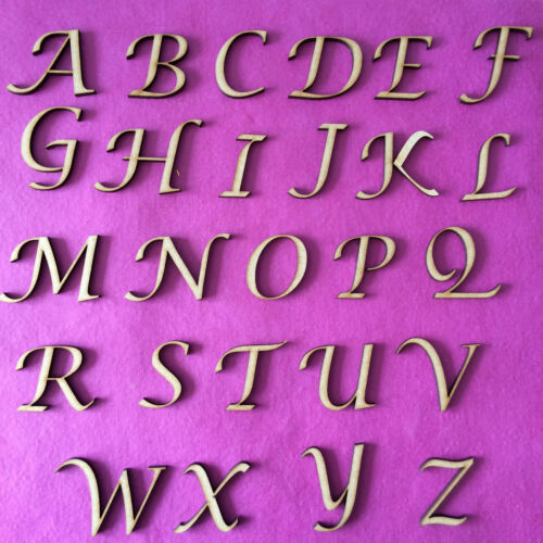 WOODEN LETTERS /& NUMBERS IN LUCIDA CALLIGRAPHY FONT SIZES 2-3-4-5-6-8 AND 10cm