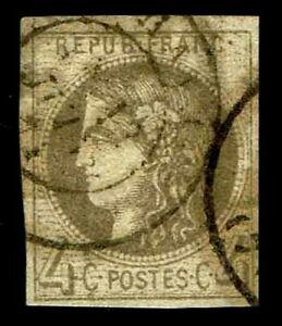 1870-71-France-40-Bordeaux-Issue-Used-VF-XF-CV-200-00-ESP-3654