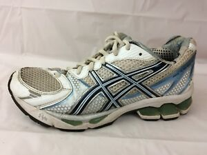 Details about ASICS Womens 7.5 M Gel Kayano 15 Running Shoes White Blue Sneaker T950N Athletic