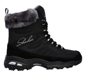 Dettagli su Skechers D'Lites Chalet Stivali Impermeabile Invernali con Pelo Sneaker Donna