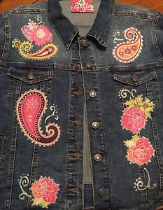 LAST-ONE-Boutique-Embellished-Denim-Jean-Jacket-w-Roses-was-HALF-PRICE-XL