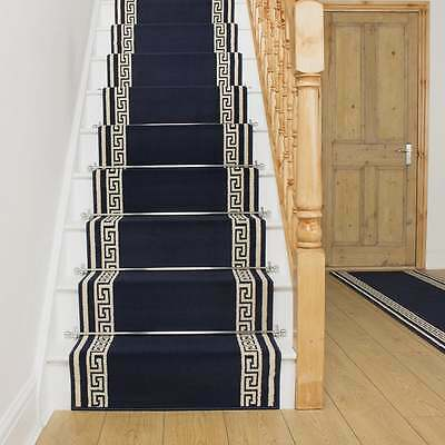 Key Dark Blue - Stair Carpet Runner Narrow Staircase Modern Quality Cheap New