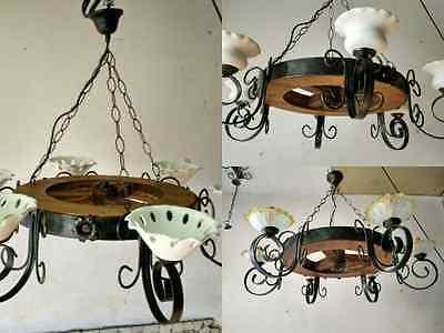 Lampadari In Legno Rustici.Lampadario Rustico In Ferro Battuto E Legno Mod Ruota 6 Luci E14 Artigianale Ebay