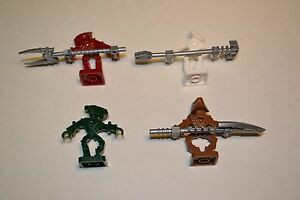 LEGO-Bionicle-4-Bionicle-Minifigs-amp-Weapons-Lot-Red-Green-White-Brown-CTE