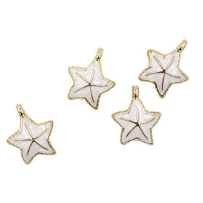 5x Gold Plated White Enamel Sea Star Pendant Alloy Charms Findings Decorations J