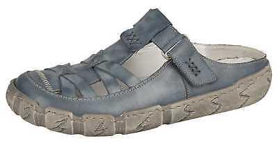 Details zu Rieker L0396 13 Pantoletten Clogs Sandalen Damenschuhe 36 42 blau Neu22
