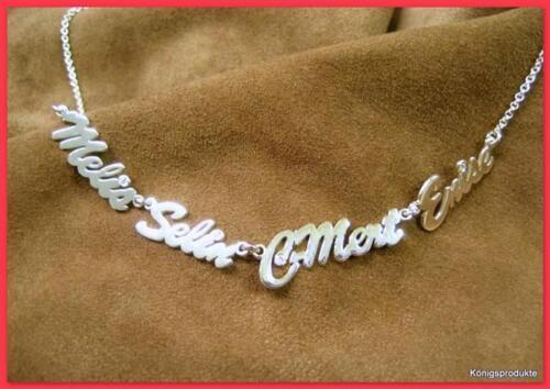 1 Namenskette mit 4 Namen nach Wunsch in 925er Silber mit 4 Zirkonia NEU