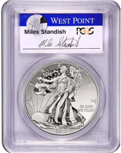 2013-W PCGS MS70 Enhanced SILVER EAGLE First Strike Miles Standish Auto