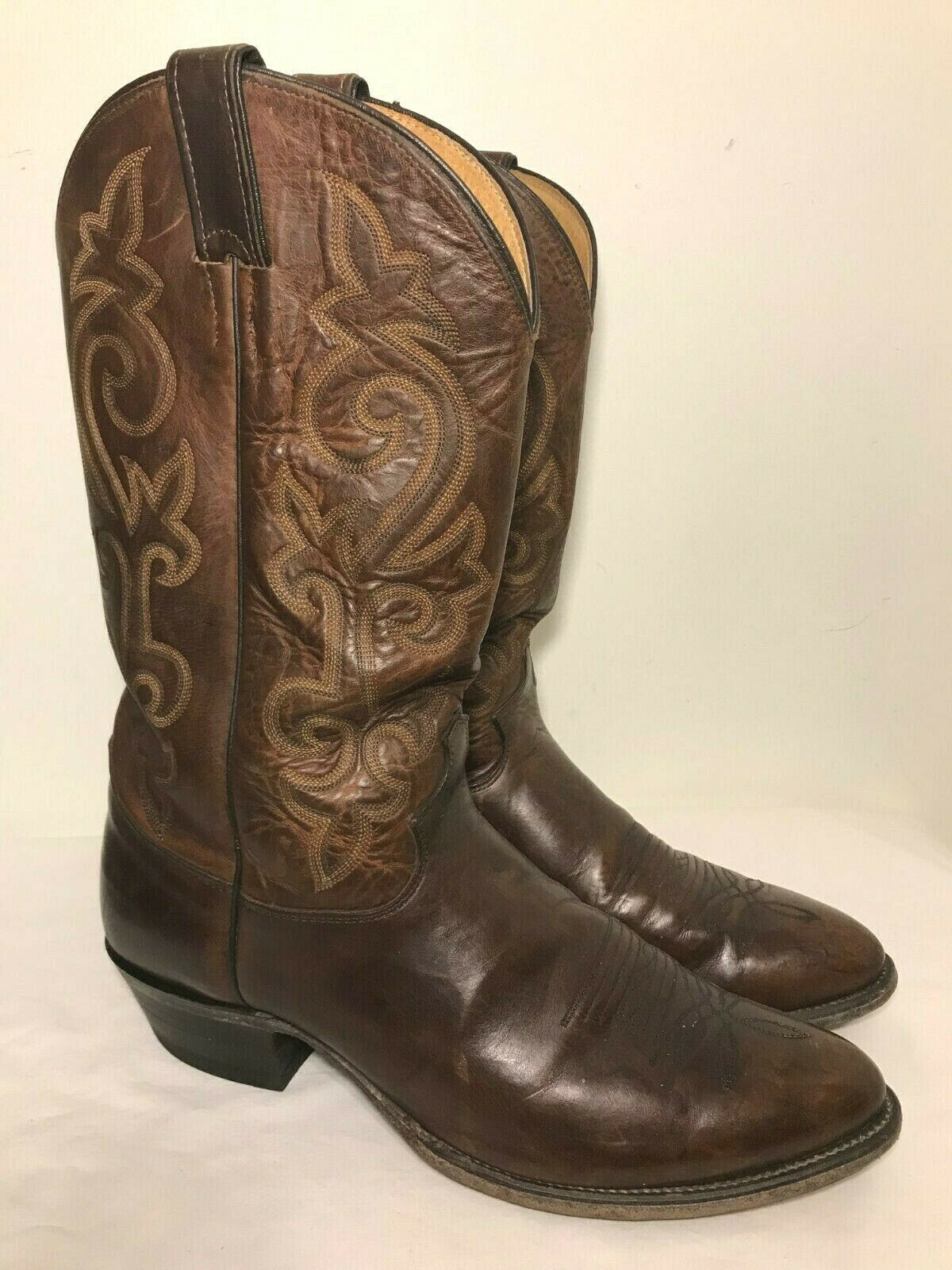 JUSTIN 2253 Bay Apache Boots Mens Size 12 D Brown Oiled Leather Cowboy Western