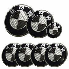 7x BMW emblem SET Carbon Fiber Black/White Emblem Logo For BMW e60 e90 e46 f10