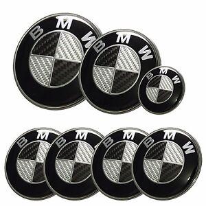 7x bmw emblem set carbon fiber black white emblem logo for. Black Bedroom Furniture Sets. Home Design Ideas