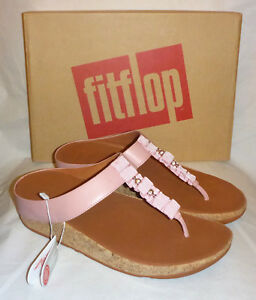 8482f4cf30b2db Image is loading Fitflop-Ruffle-Toe-Thong-Sandals-Dusky-Pink-Leather-