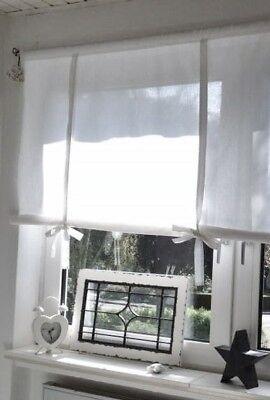 Rollo Raffrollo Roll Gardine 140x90 Brocante Shabby Chic Landhaus Vintage Weiß