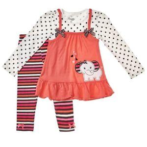 d51769713553 Image is loading Nannette-Girl-2PC-Elephant-Ruffle-Tunic-Jumper-Dress-