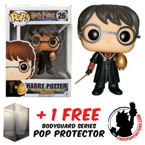 FUNKO POP HARRY POTTER HARRY WITH GOLDEN EGG #26 EXCLUSIVE + POP PROTECTOR