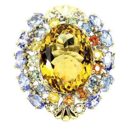 Handmade Oval 14.76ct Aaa Citrine Quartz Tanzanite Sapphire 925 Silver Ring Sz 9
