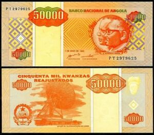 Africa Paper Money: World Realistic Angola 50,000 Kwanzas 1995 P138 Uncirculated Big Clearance Sale