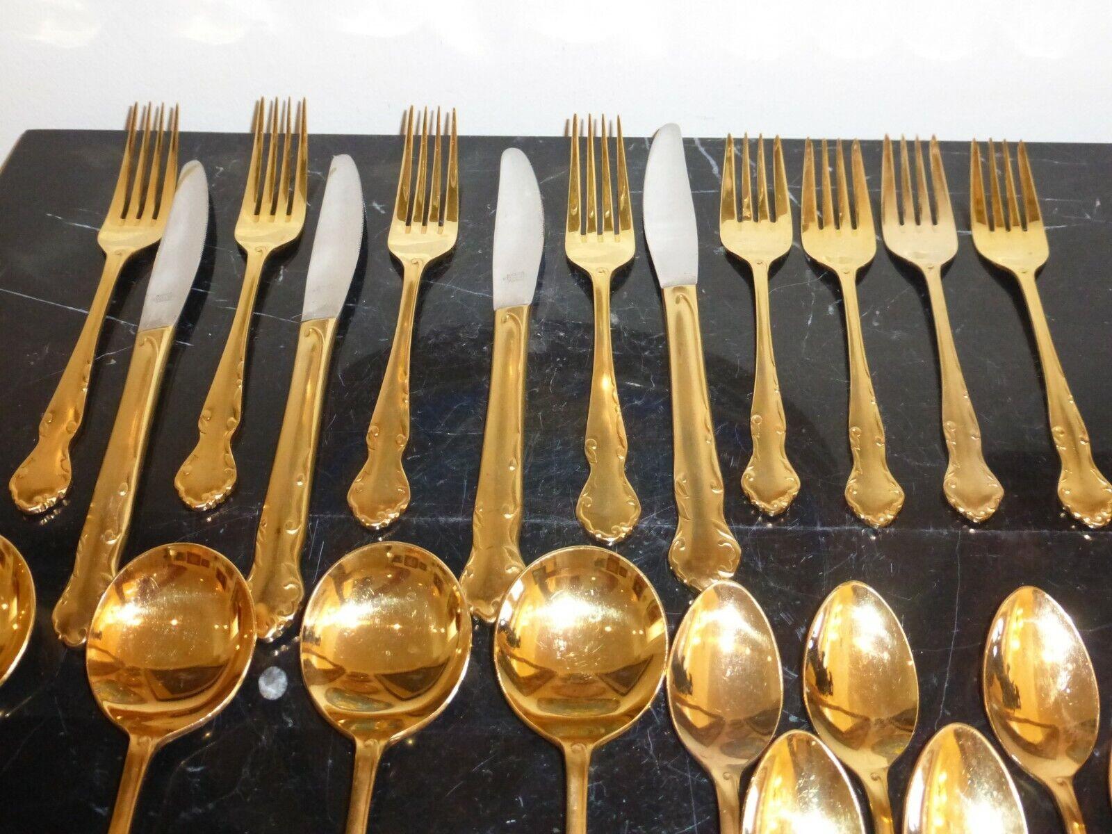 VINTAGE NASCO Gold ELIZABETHAN FLATWARE DINNERWARE 24 PIECES