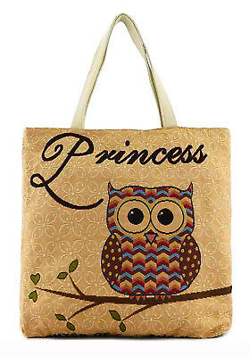 New Charm Ladies Tapestry Owls Tote Bag Travel Shoulder Handbag Weekend Shopping