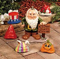 Gnome Greeter Garden Statue With Interchangeable Seasonal Hats (6-pc Set)
