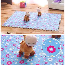 30*30CM Living Room Bedroom Children Soft Patchwork Carpet Splice Baby Mat  Blue